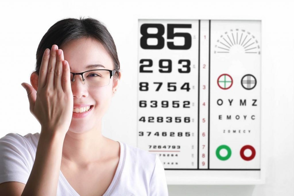 Woman making an eye test
