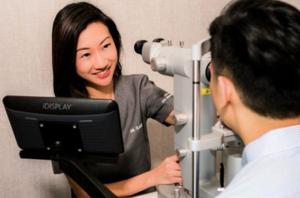 Dr Claudine Pang serving the patient